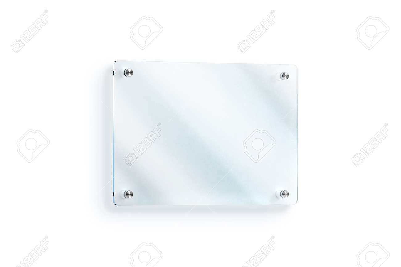 Blank Glass Sign Plate Wall Mounted Mockup Clipping Path 3d Rendering Clear