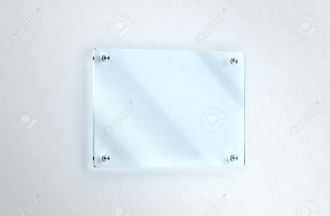 Blank Glass Nameplate Mounted On The Wall Mockup Clipping Path