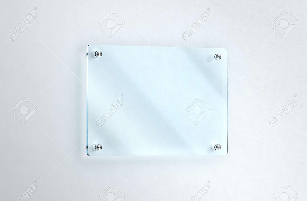 Placa De Cristal En Blanco Montado En La Pared De Maqueta, Camino De ...