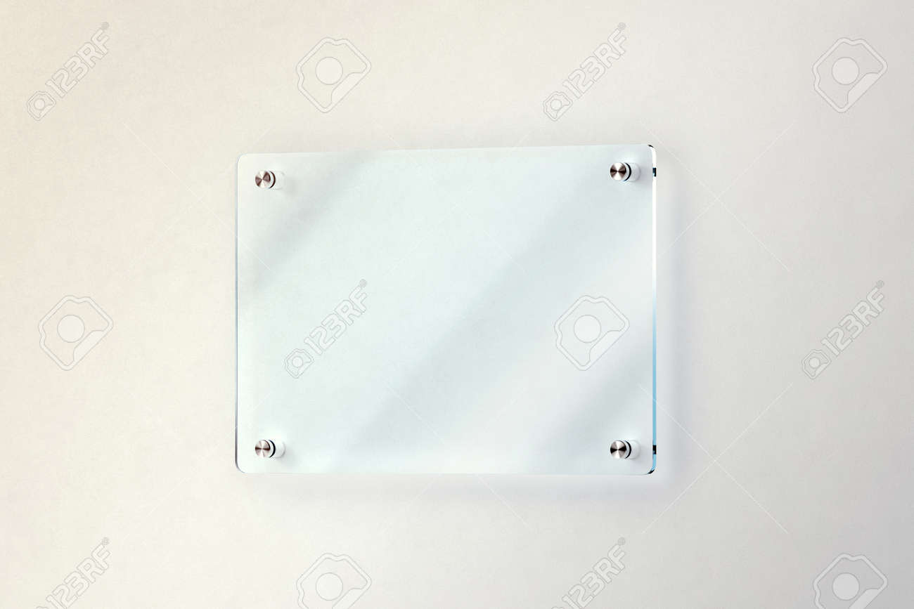 Blank Glass Door Plate Mounted On The Wall Mockup Clipping Path 3d