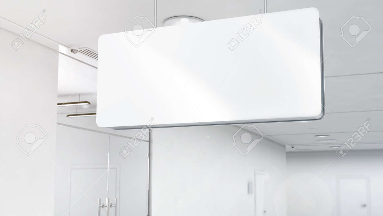 Blank White Plastic Signage Mockup Top Mounted 3d Rendering