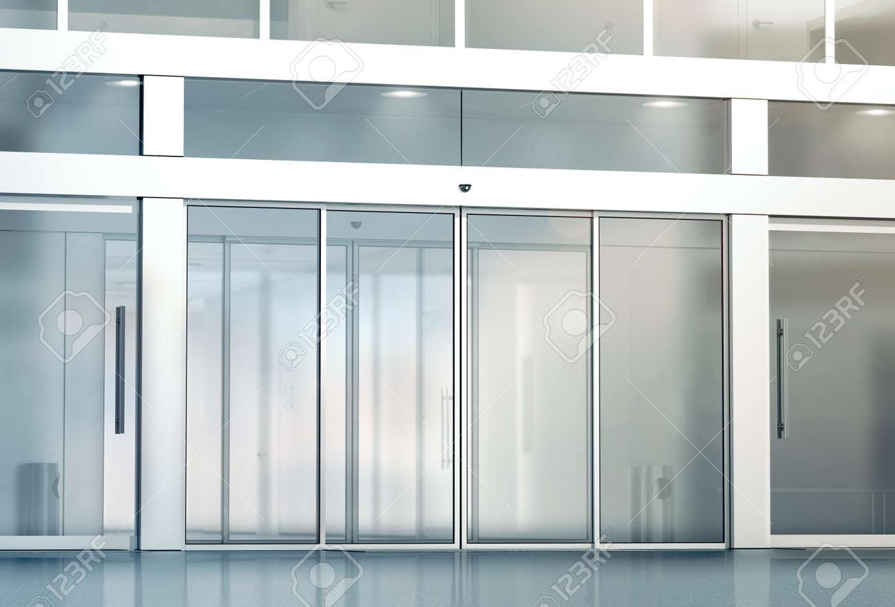 Automatische Glazen Deuren.Lege Glazen Schuifdeuren Entree Mockup 3d Rendering Commerciele Automatische Invoer Mock Up Kantoorgebouw Exterieur Template Gesloten Transparante
