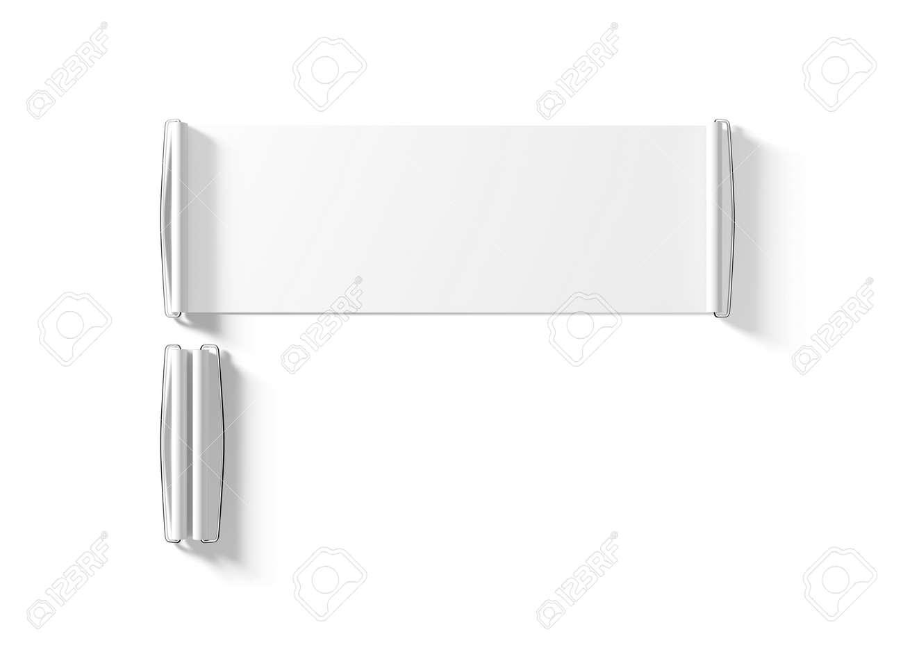 blank white hand held banner mockup isolated 3d rendernig stock