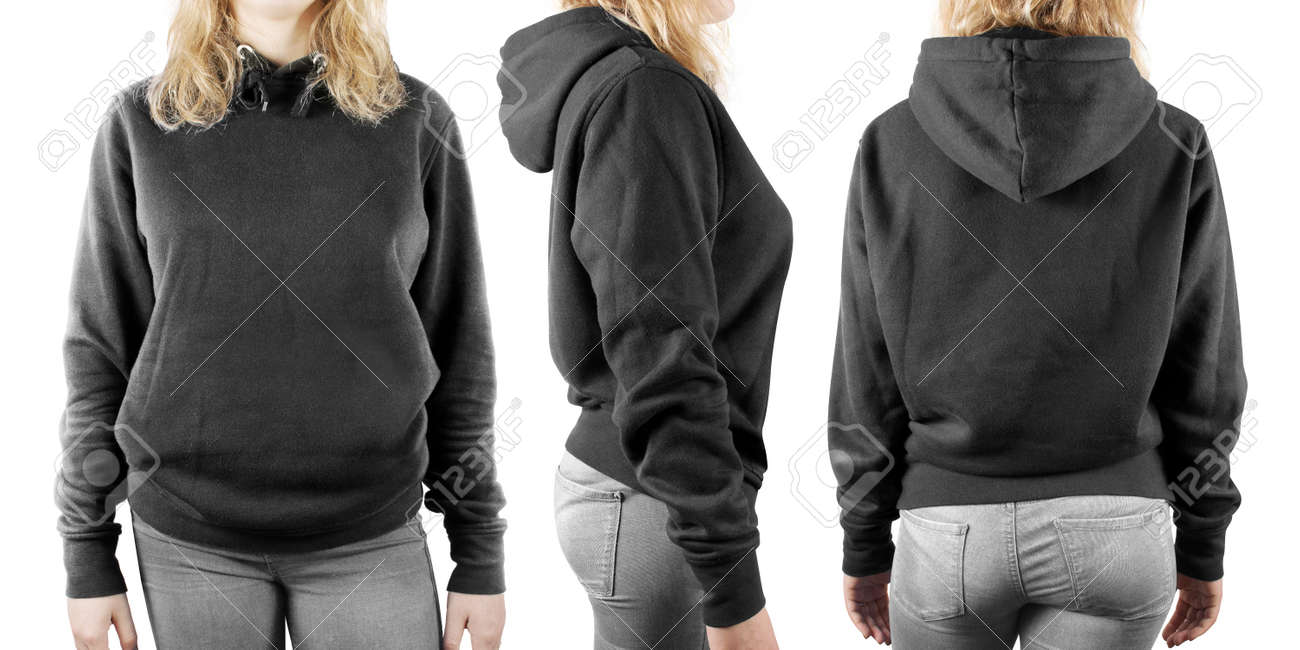 c146e5e22fa Blank black sweatshirt mock up set isolated, front, back and side view.  Woman