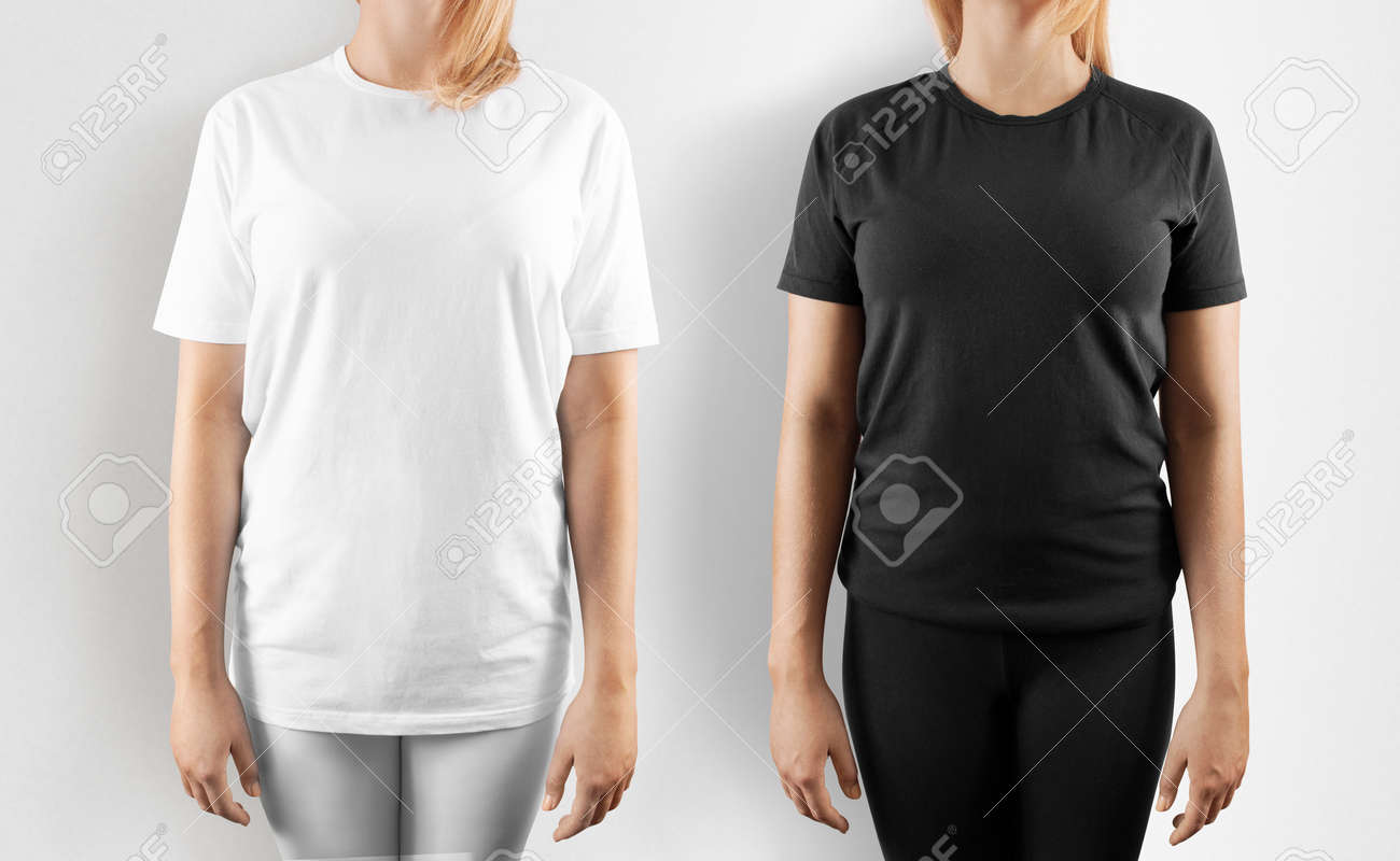 Blank Black And White T Shirt Design Mockup Isolated Women Stock