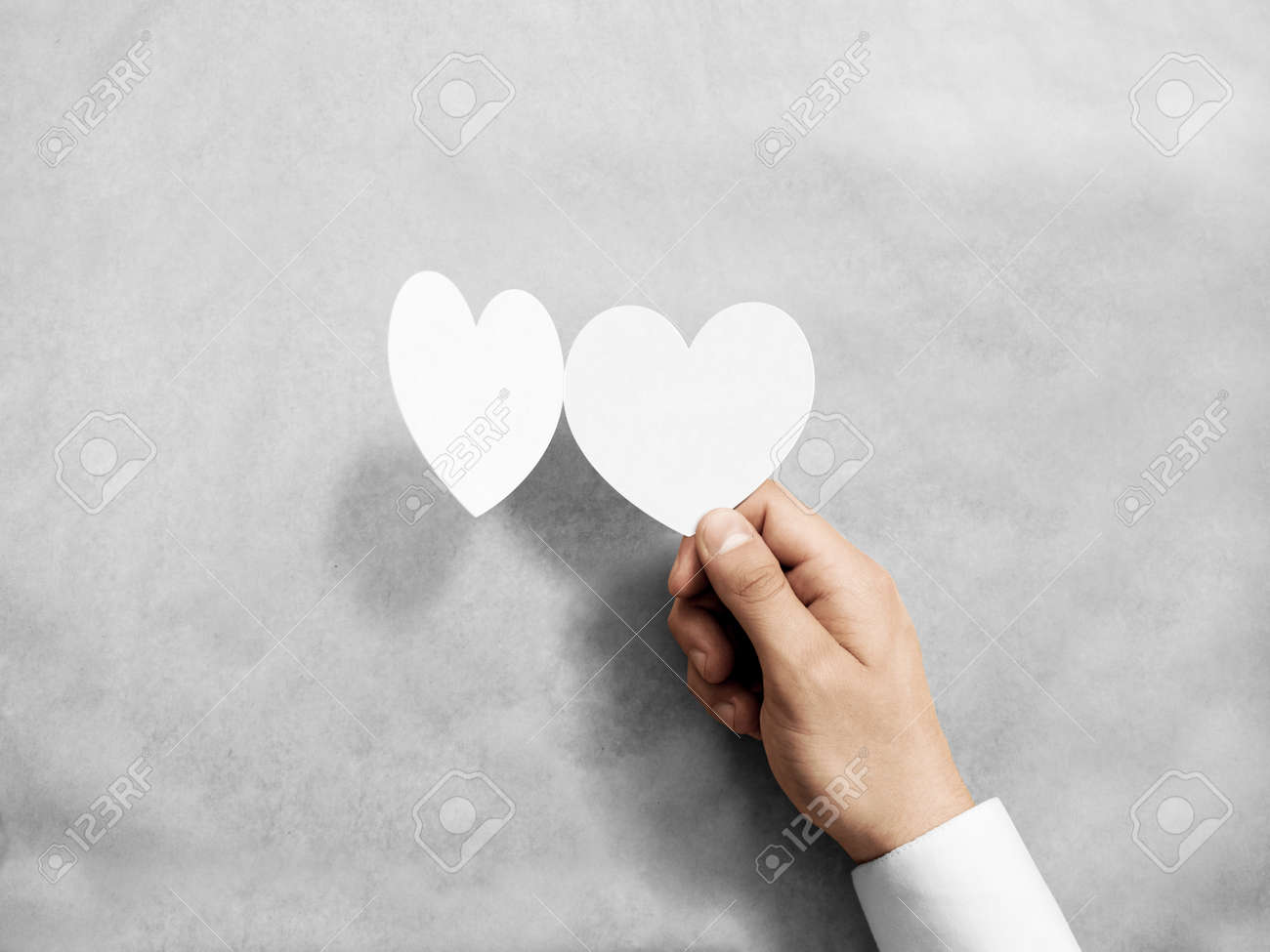 Hand Holding Blank White Valentines Card Mockup Arm Opening