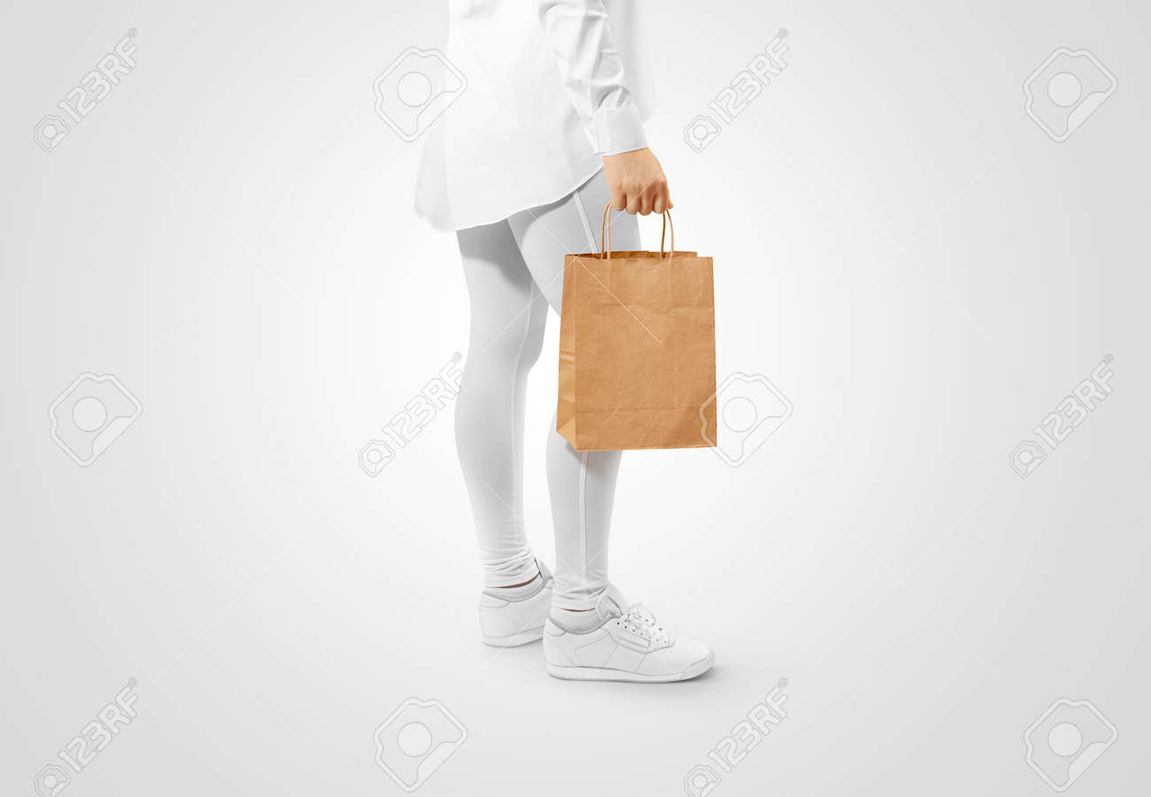 Blank Brown Craft Paper Bag Design Mockup Holding Hand Clipping