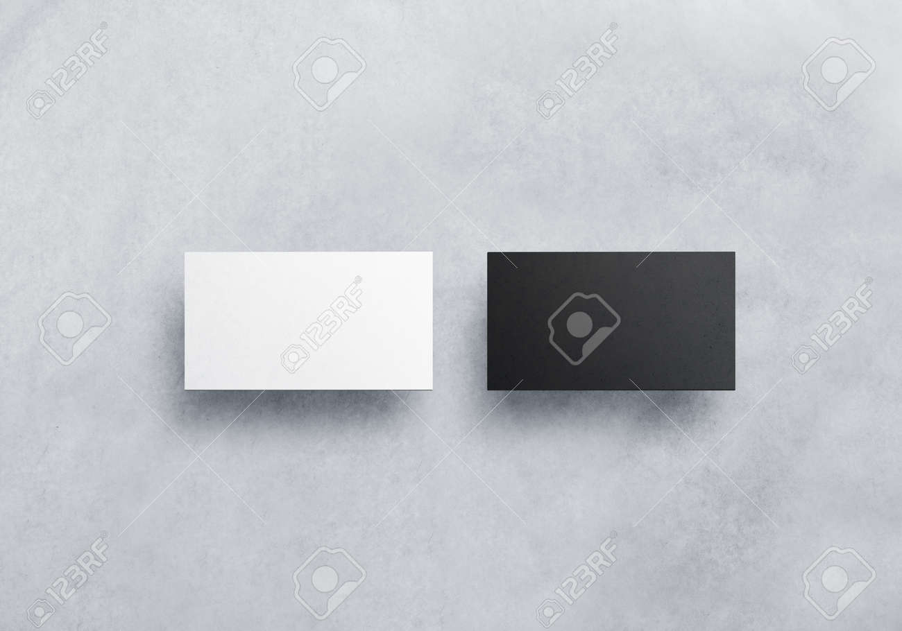 Two Blank Business Card Mockups Isolated On Grey Textured Background ...
