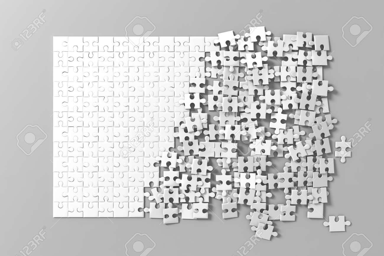 Blank White Unfinished Puzzles Game Mockup, Connecting Together ...