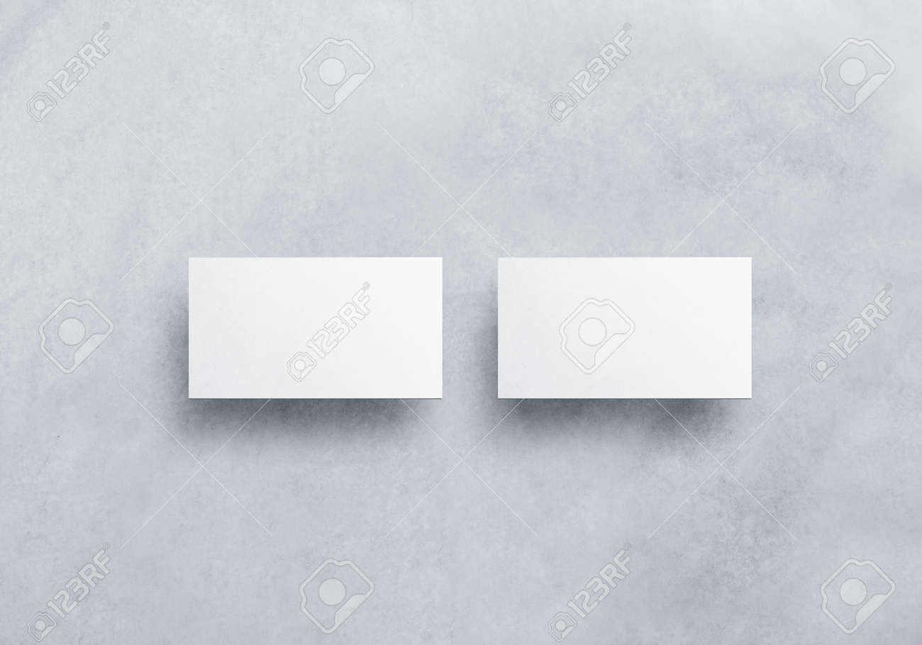 Blank White Business Card Mockups Isolated On Grey Textured - White business card template