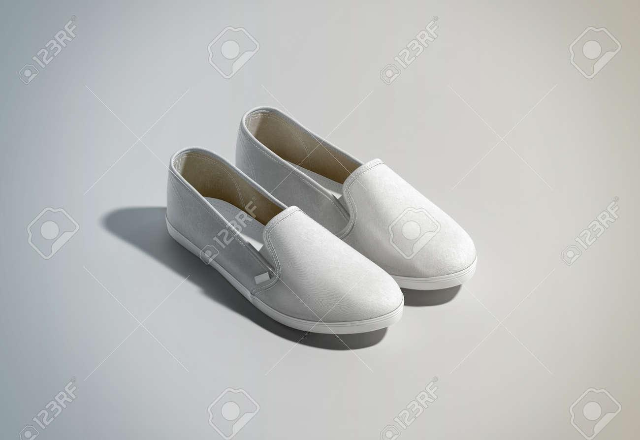 Leere Weiße Slip-on Schuhe Paar Design Mockup, Isometrische Ansicht ...