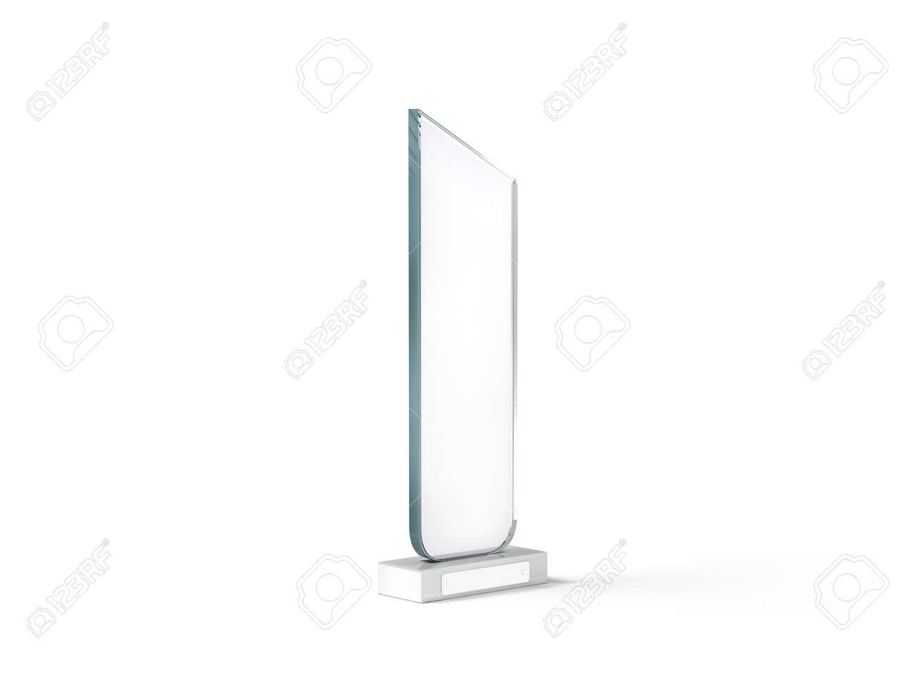 Blank Tall Glass Trophy Mockup, 3d Rendering. Empty Acrylic Award ...