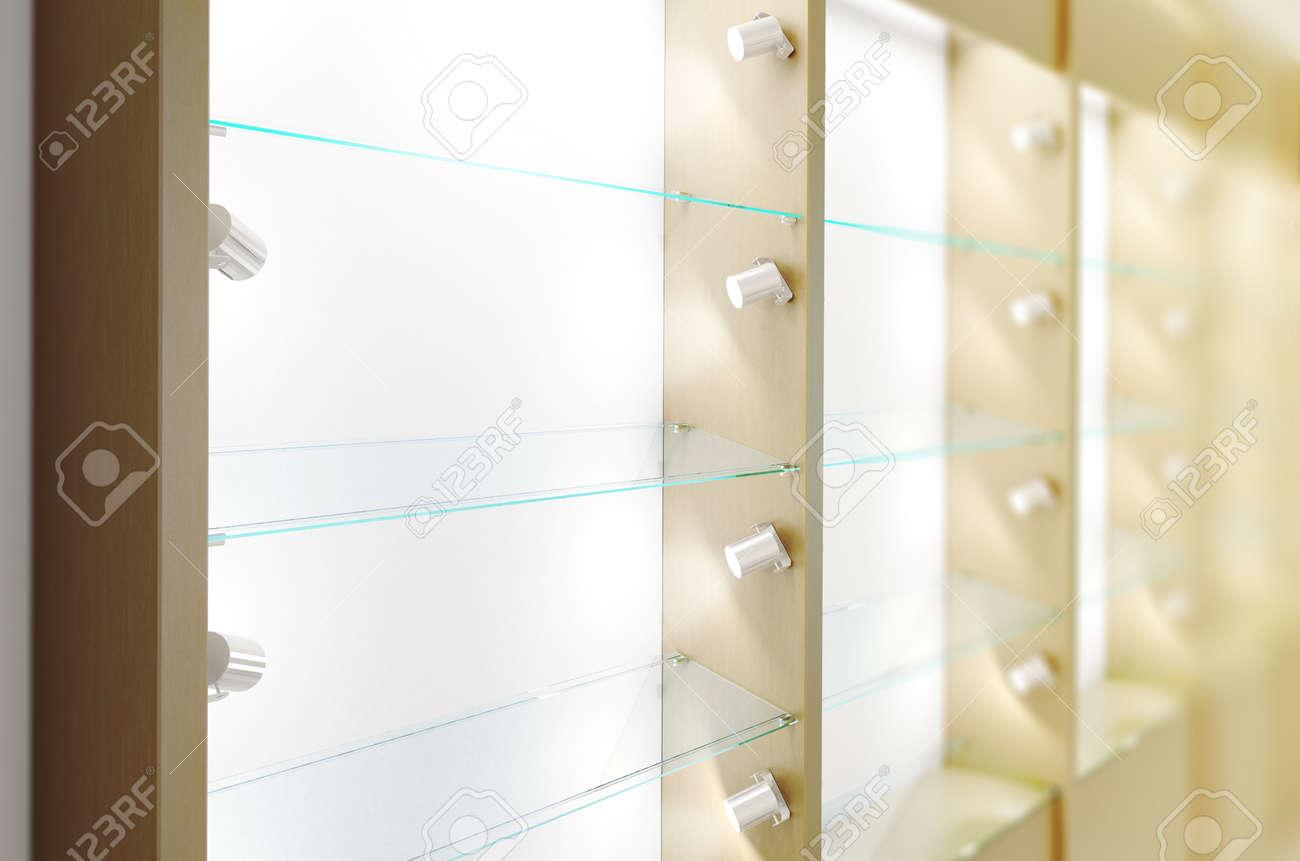 blank holz schaufenster design mockup, seitenansicht, 3d-rendering