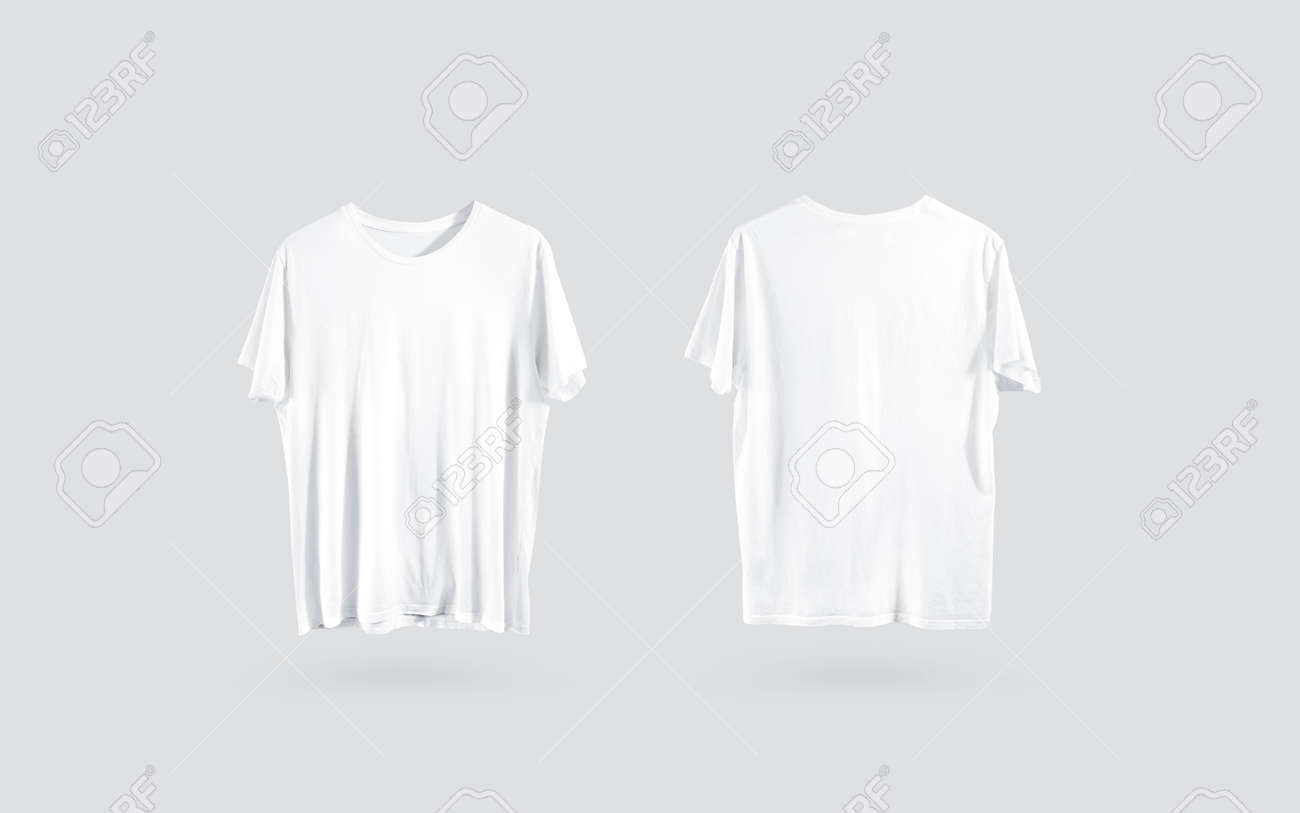 Blank White T Shirt Front And Back Side View Design Mockup