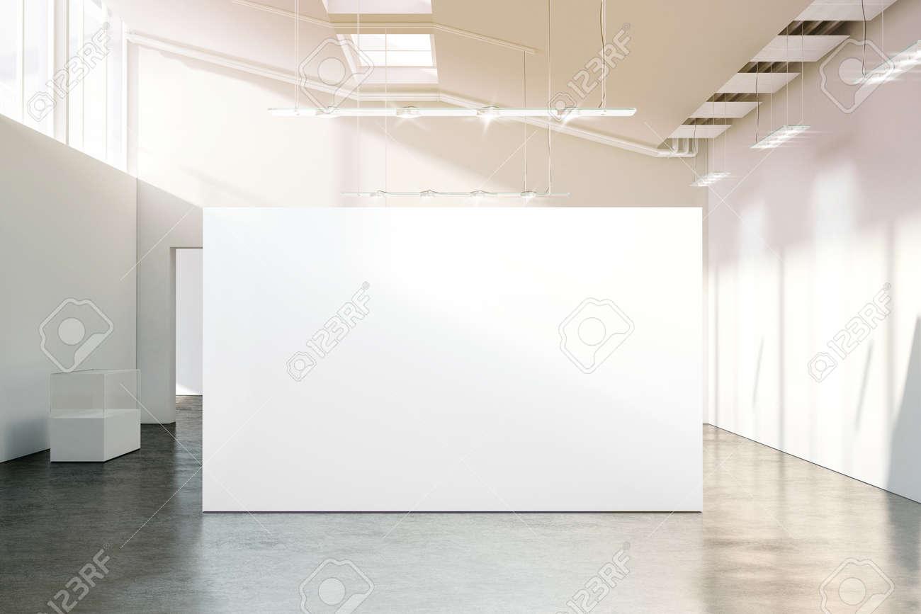 Mockup De Mur Blanc Dans Le Musée Vide Moderne Ensoleillé, Rendu 3D ...
