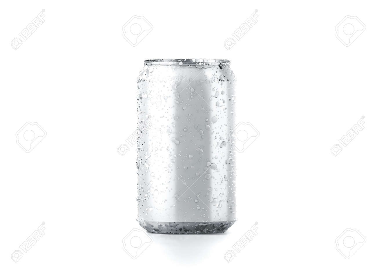 blank cold aluminium beer can mockup with drops 330 ml 3d