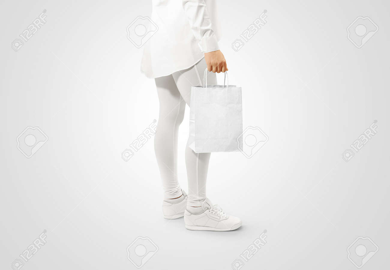 Blank White Craft Paper Bag Design Mockup Holding Hand Woman
