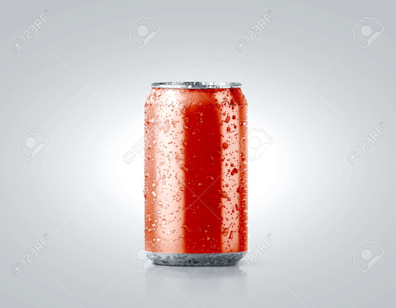 blank red cold aluminium soda can mockup with drops 330 ml stock