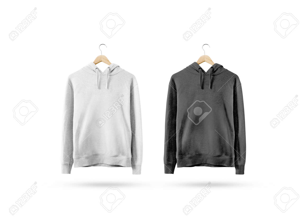 Blank Black And White Sweatshirt Mockup Hanging On Wooden Hanger ...