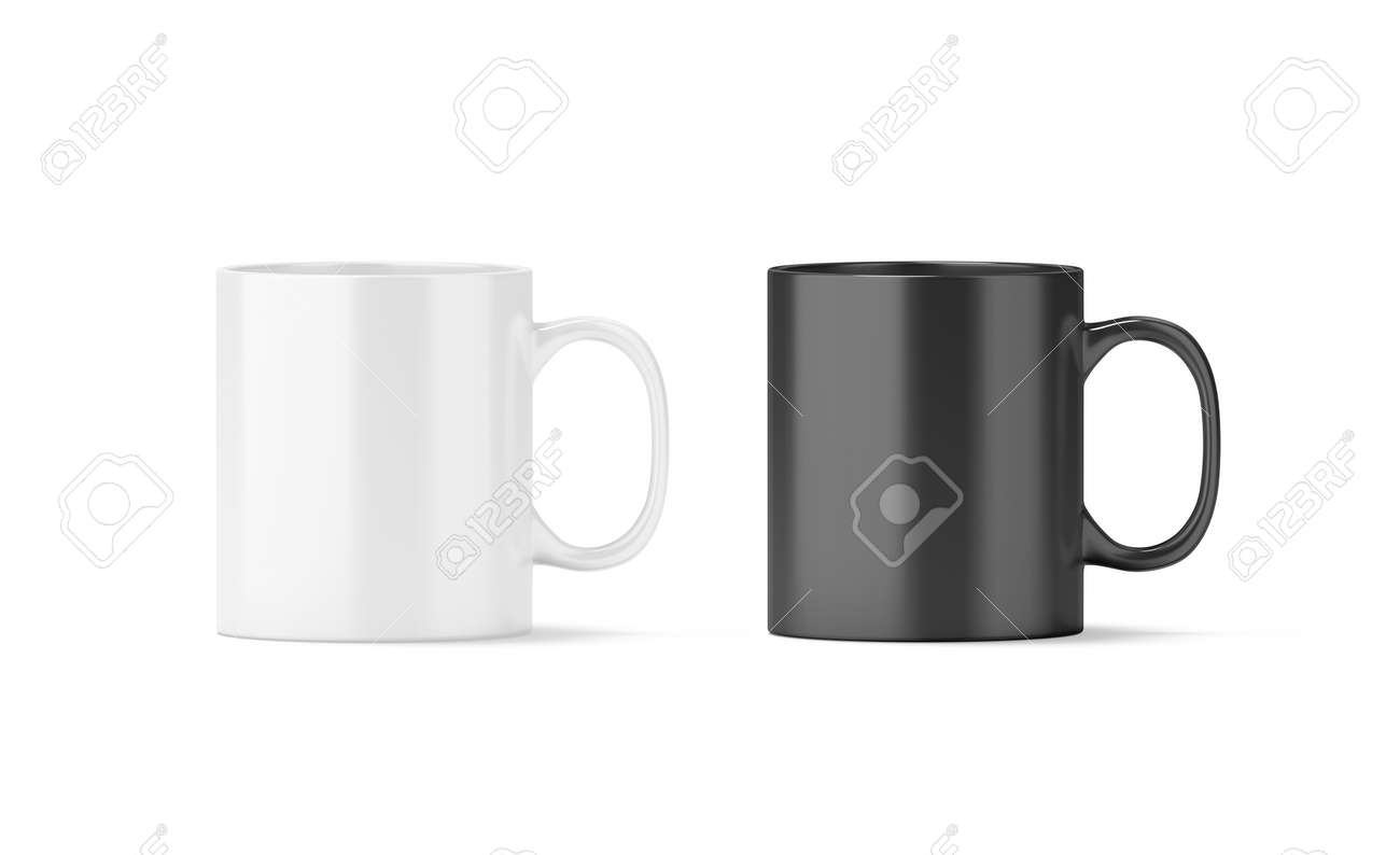 Blank Black And White Glass Mug Mockup Isolated, 3d Rendering ...