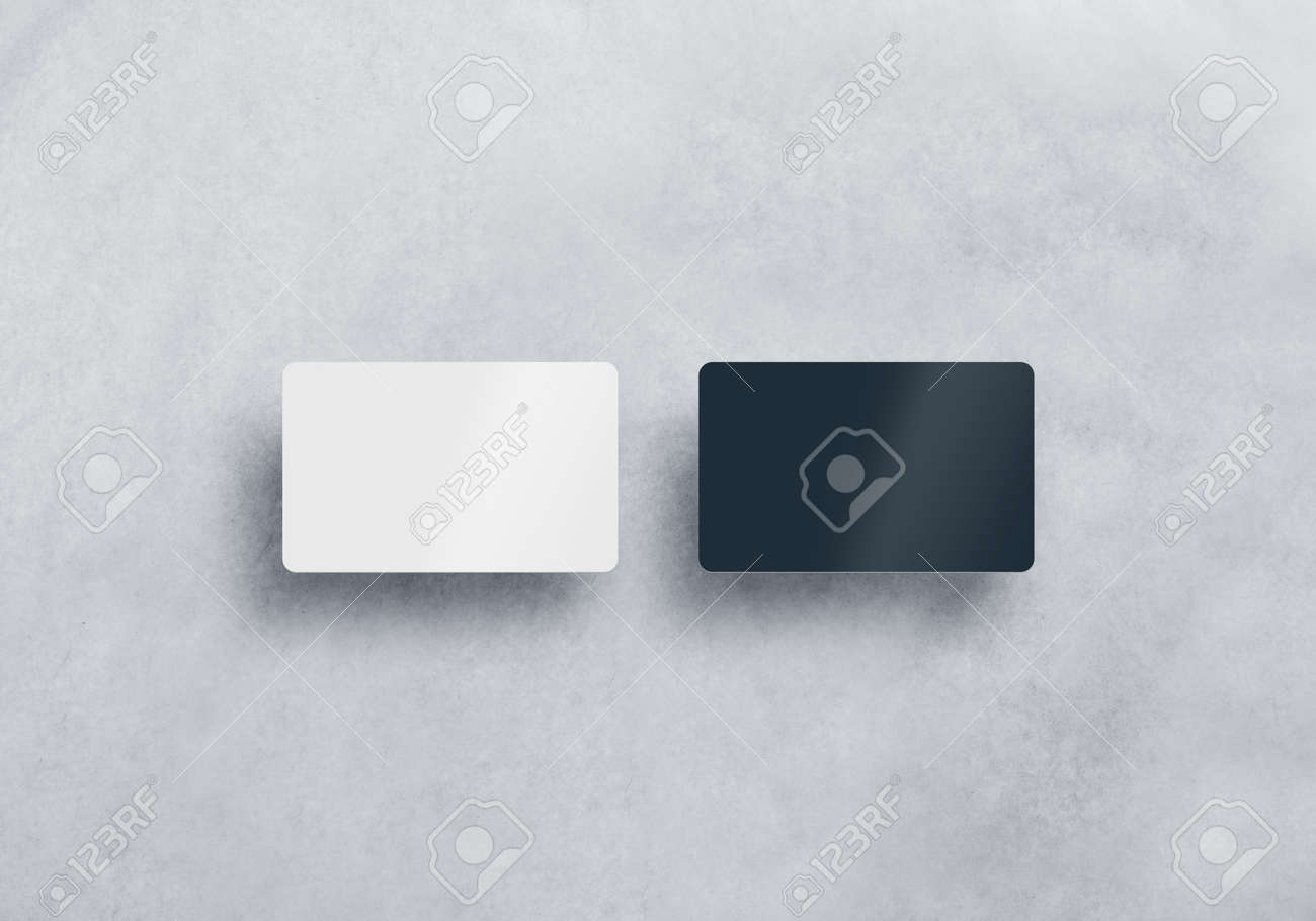 Two Blank Plastic Business Cards Mockups Set Isolated On Grey