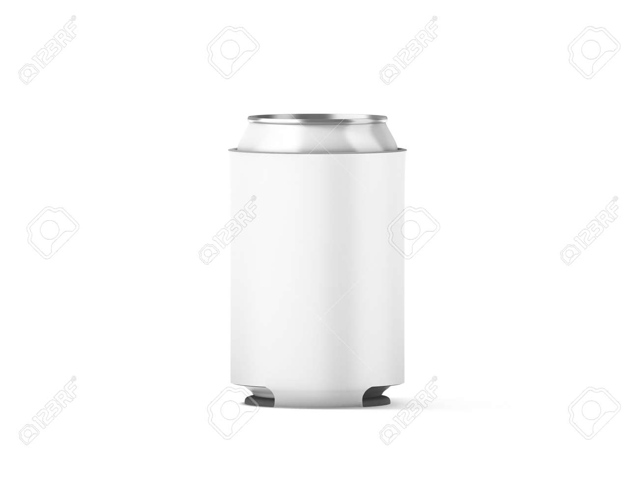 Blank White Collapsible Beer Can Koozie Mockup Isolated 3d Rendering Empty Neoprene Cooler Holder