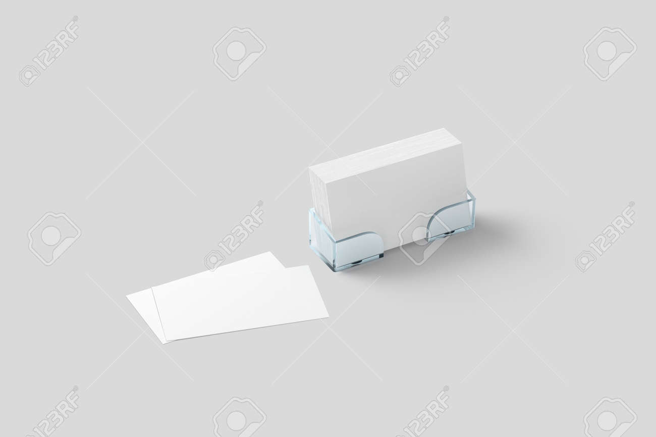 White Business Card Mockup In Acrylic Holder Isolated. Plastic ...