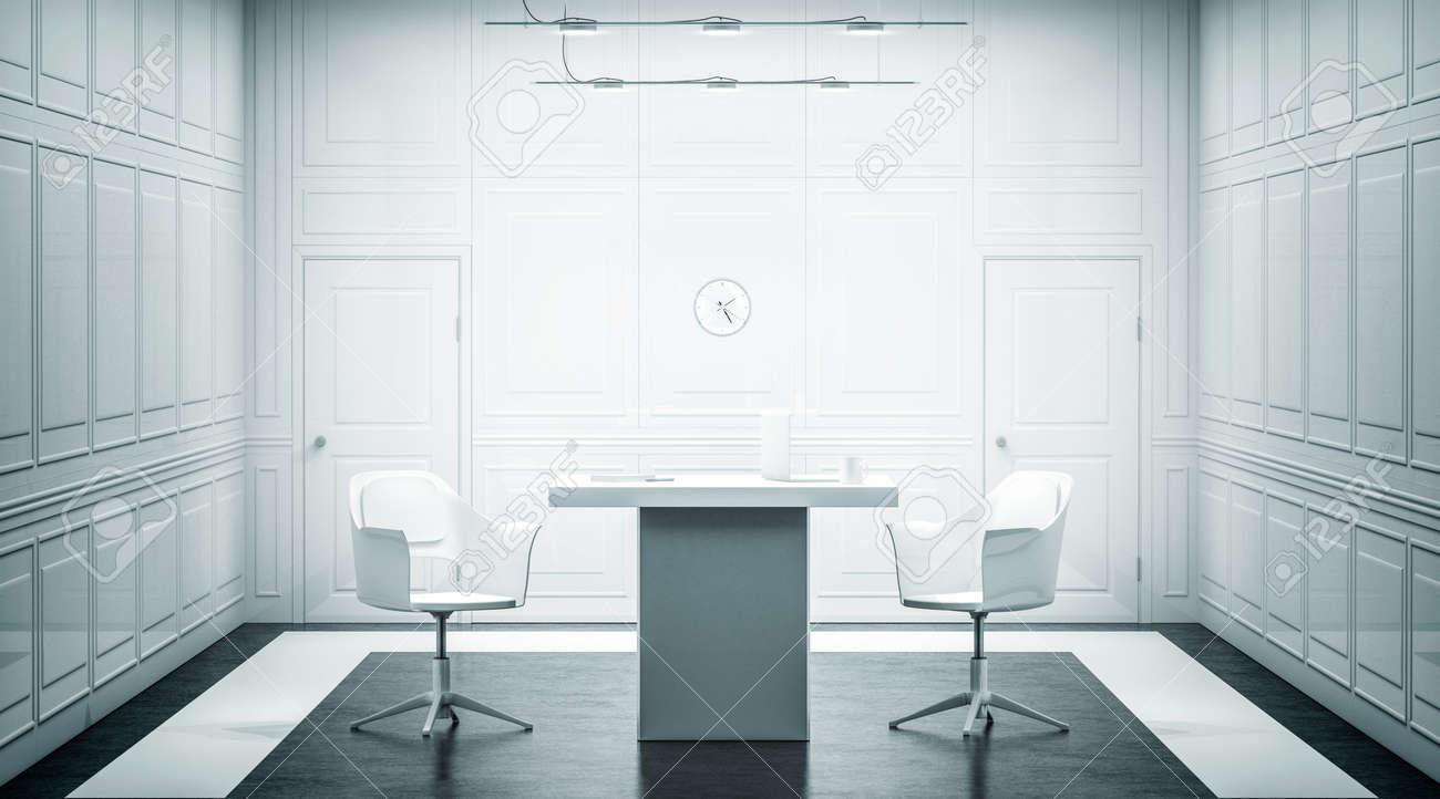 Design d intérieur de bureau de luxe blanc blanc rendu d salle