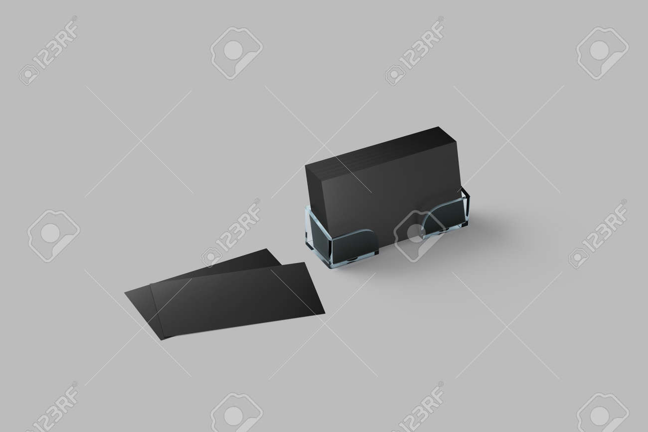 Black Business Card Mockup In Acrylic Holder Isolated Plastic Transparent Glass Box With Grey Blank