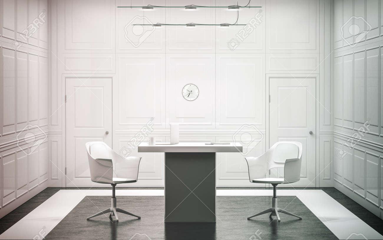 Blank White Luxus Büro Innenarchitektur, 3D-Rendering. Helle Leere ...