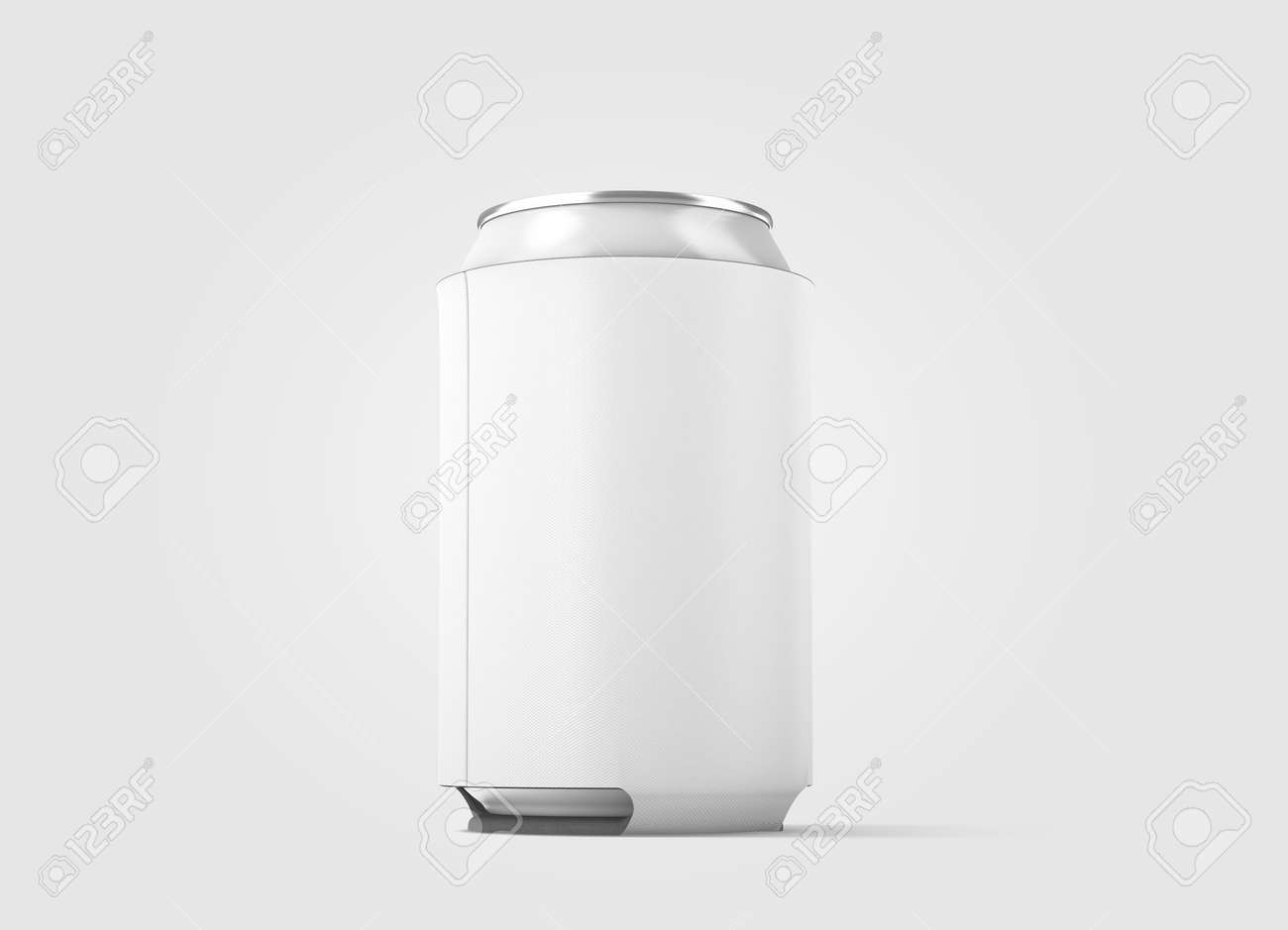 blank white collapsible beer can koozie mockup isolated side