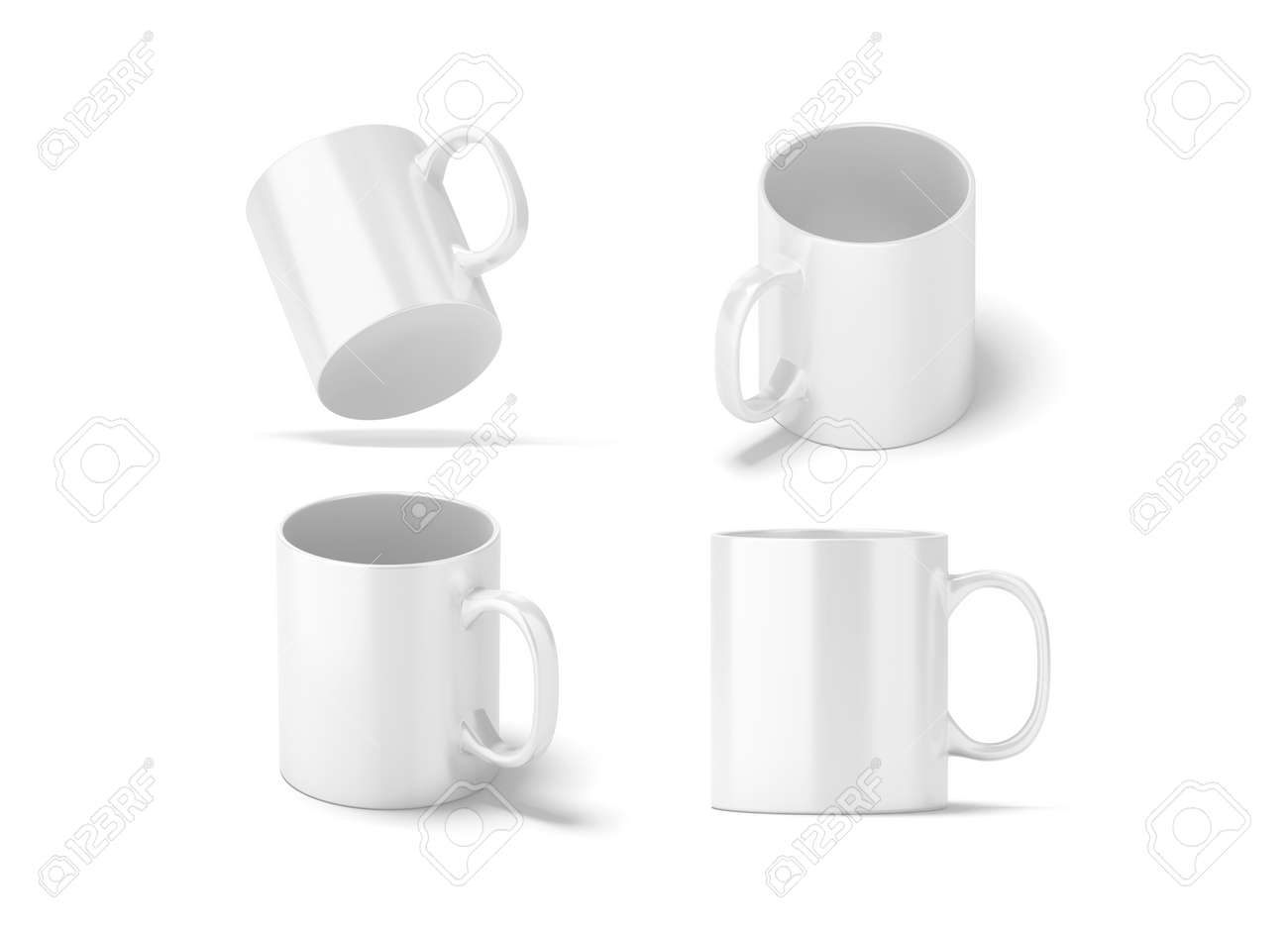 Blank White Glass Mug Mockups Set Isolated 3d Rendering Clear 11 Oz Coffee Cup Mock Up For Sublimation Printing Empty Gift Pint Set Branding Template Glassy Restaurant Tankard Design Banco De Imagens