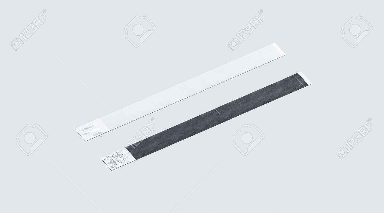 Blank black and white paper wristband mockup, 3d rendering  Empty