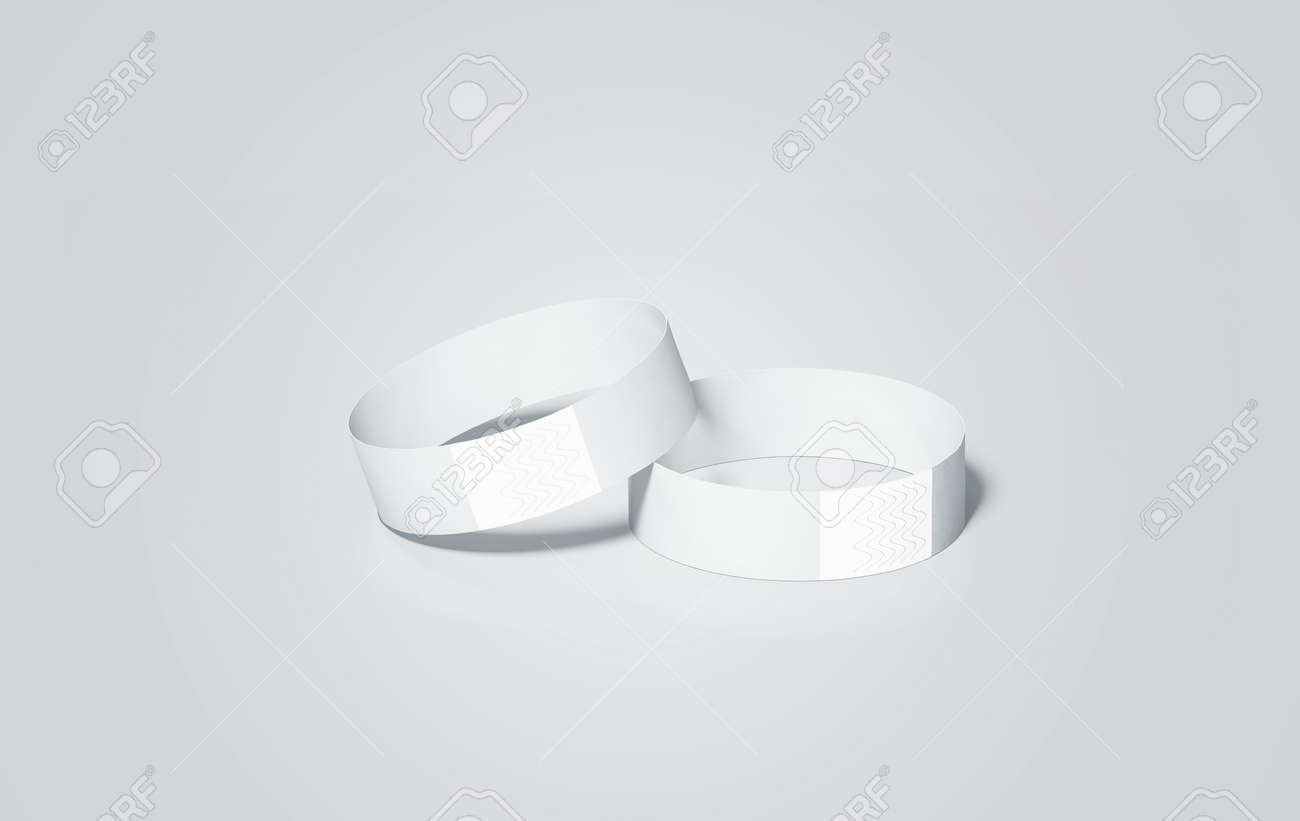 Blank white paper wristbands mock ups, 3d rendering  Empty event