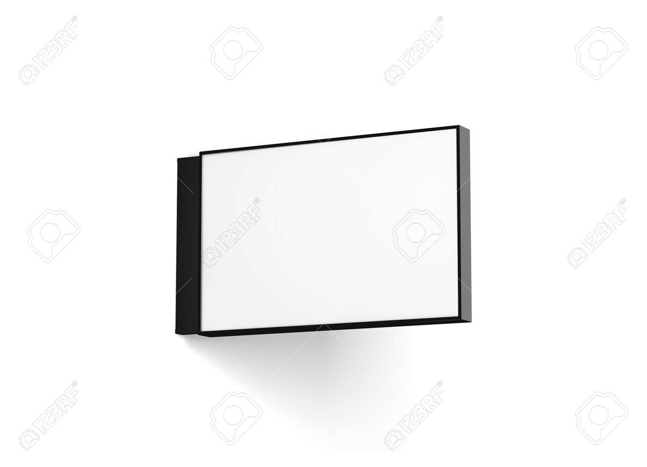 blank horizontal store signage design mockup isolated 3d rendering