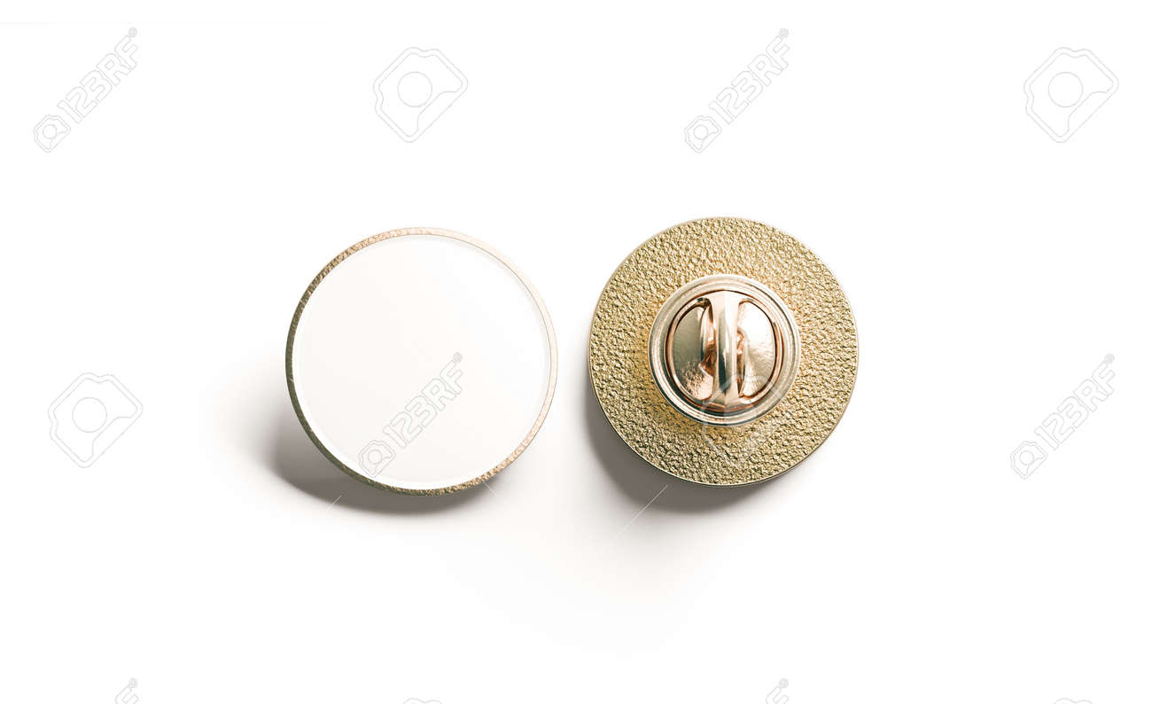 Blank white round gold lapel badge mock up, front and back side view, 3d rendering. Empty hard enamel pin mockup. Metal clasp-pin design template. Expensive curcular brooch for logo presentation - 81307064