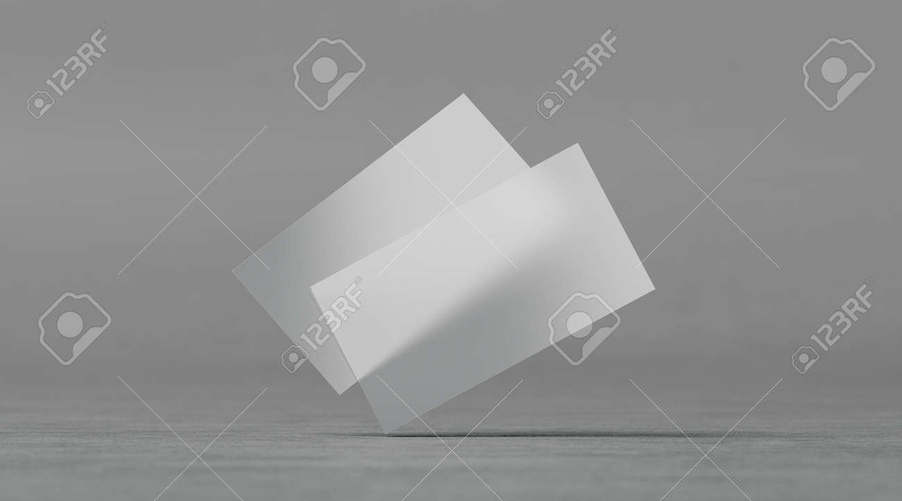 Blank Plastic Transparent Business Cards Mockups, 3d Rendering ...