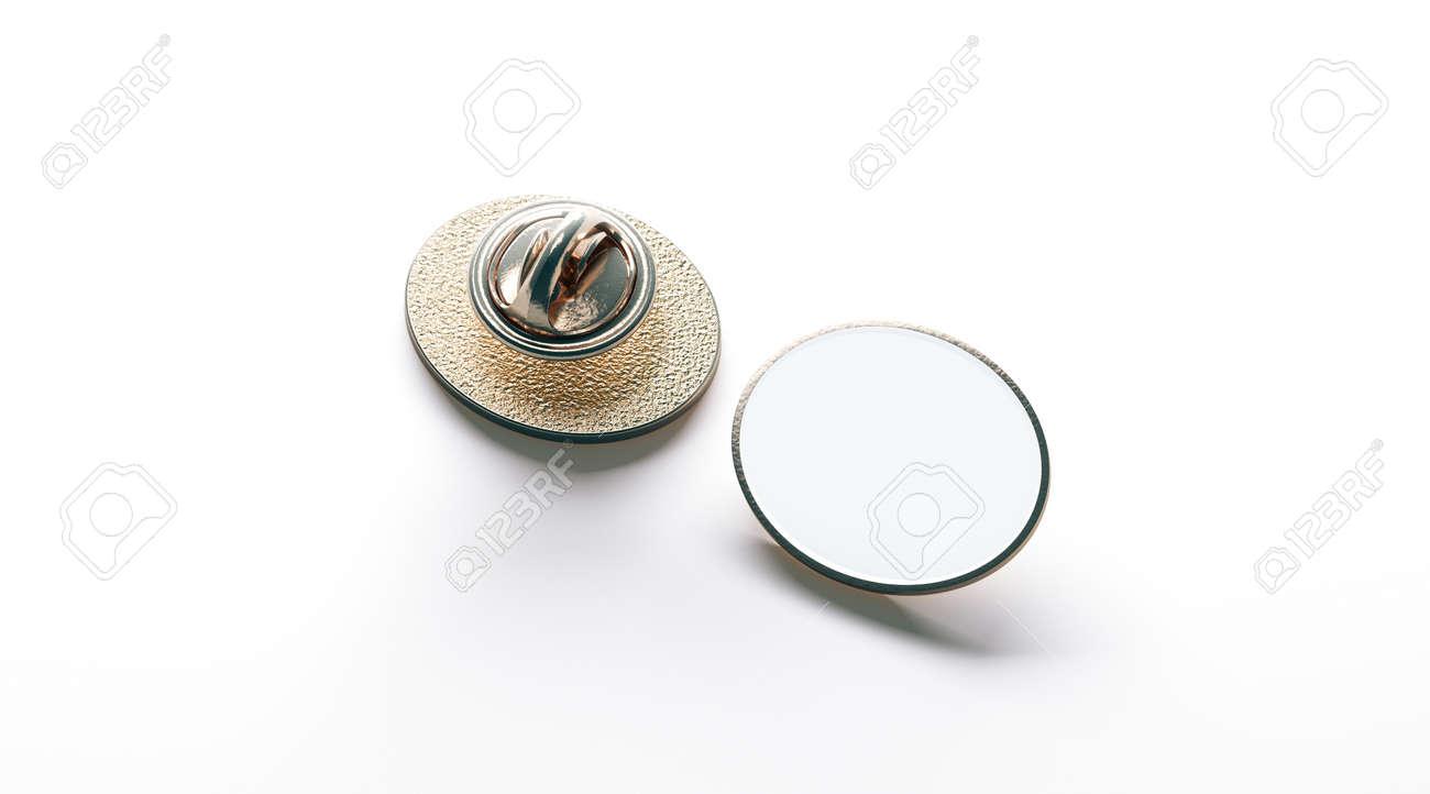 Blank white ellipse gold lapel badge mock up, front and back..