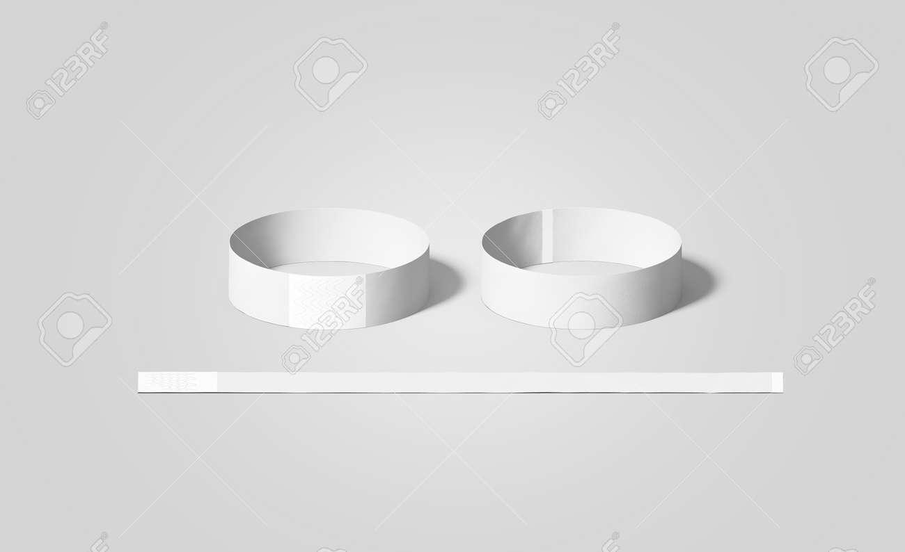 Blank White Paper Armbänder Mock Ups, Vorder-und Rückseite ...