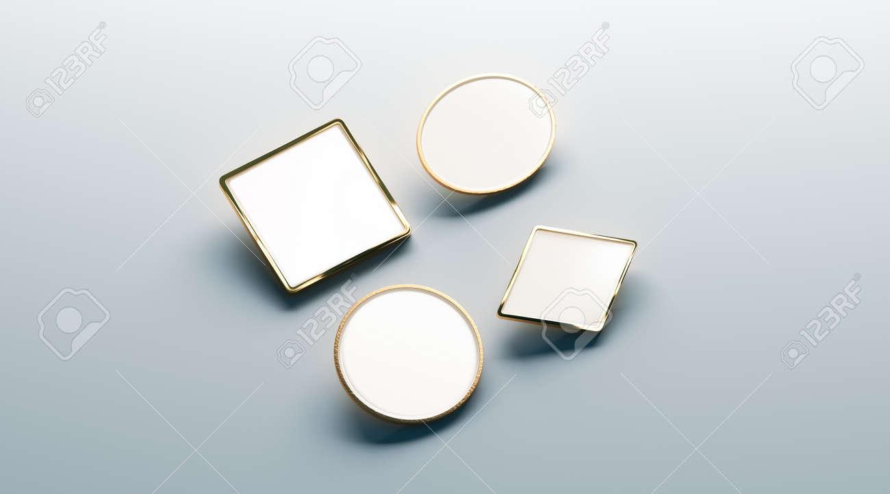 Blank White Gold Lapel Badge Mock Ups Set Round Square Rhombus Ellipse