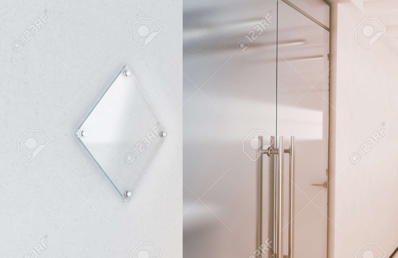transparent wall panels. Blank Rhombus Transparent Glass Sign Plate Mockup, 3d Rendering. Nameplate Mock Up On The Wall Panels R