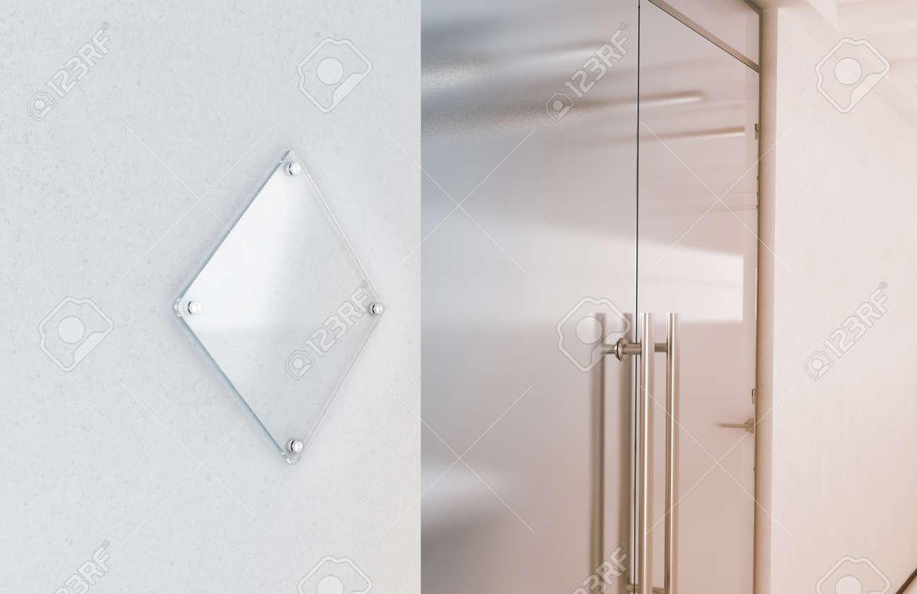 maquette de plaque de signe de verre transparent losange blanc rendu 3d plaque signaltique sur le mur prs de lintrieur de lentre du bureau