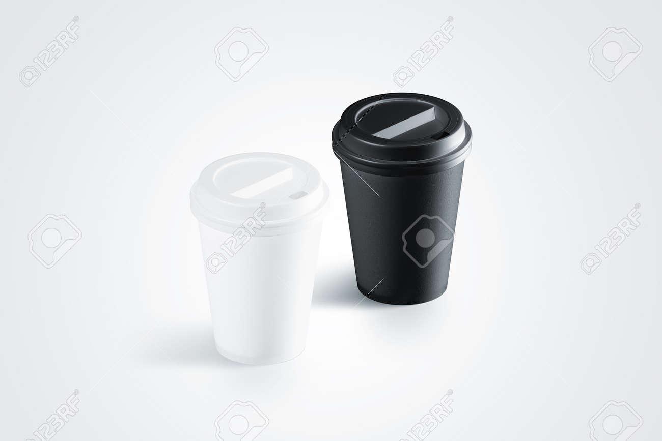 3dVerre Isométrique Noir IsoléRendu Tasse Vue En Papier Blanc Vide De Polystyrène Et Avec Simulé Couvercle Plastique Mug Jetable 0kOPX8wn