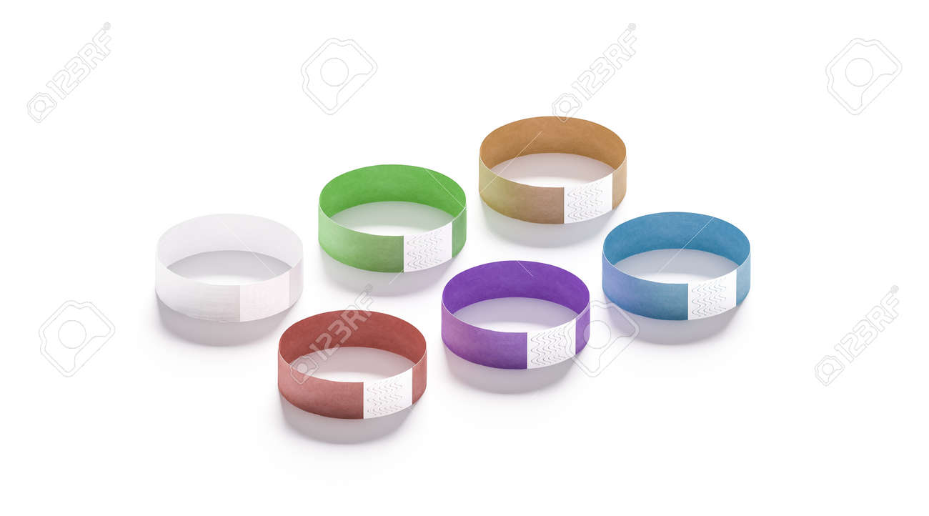 Blank colored paper wristbands mockups, 3d rendering  Empty event