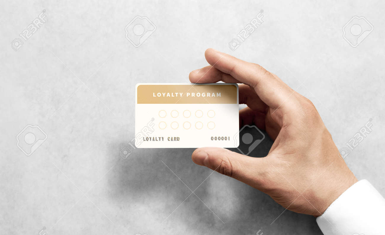 Hand Hold Loyalty Card Template With Rounded Corners. Plain Reward ...