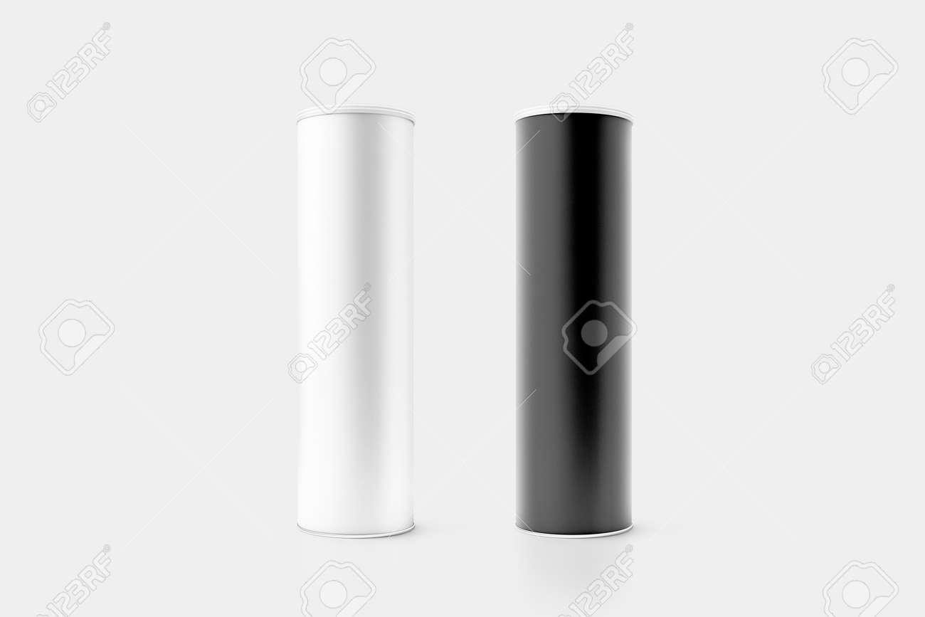 Maqueta Blanco Y Negro En Blanco De La Caja Del Cilindro De La ...