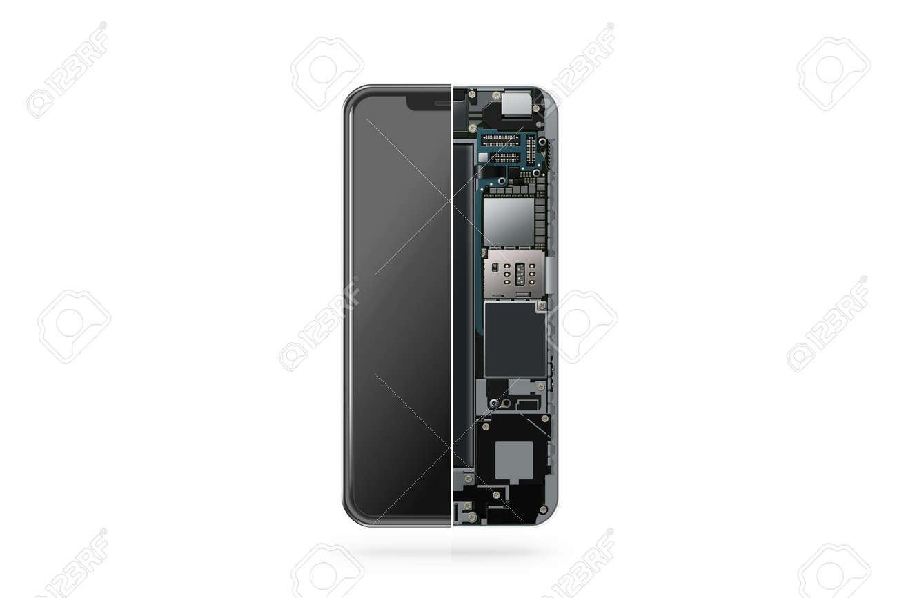New modern smart phone internal isolated, chip, motherboard,