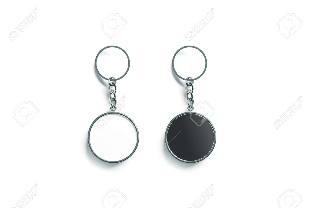 Blank metal round black and white key chain mock up top view,