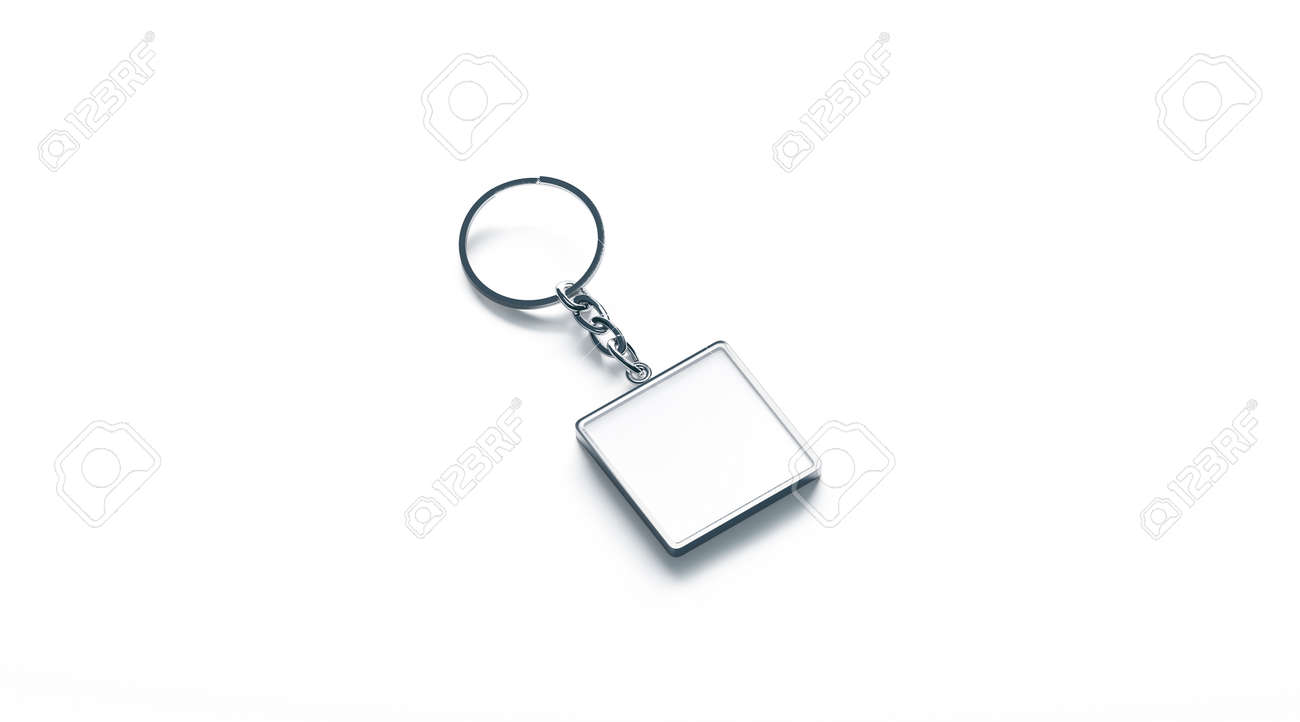 Blank metal square white key chain mock up side view, 3d rendering