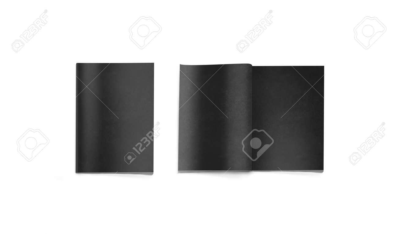 Maquette de magazine noir blanc ouvert et fermé isolé rendu d